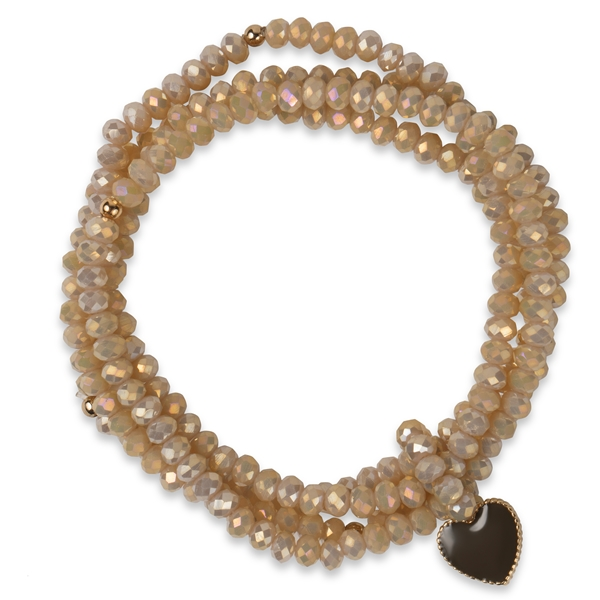 PEARLS FOR GIRLS Sparkly Heart Beige Bracelet